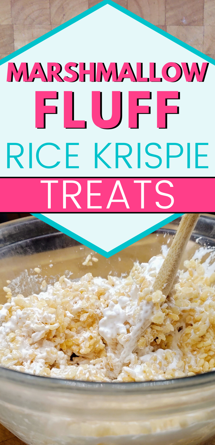 """pinterest image of bowl of marshmallow fluff and rice krispies being mixed together. Text reads, """"Marshmallow fluff rice krispie treats."""""""