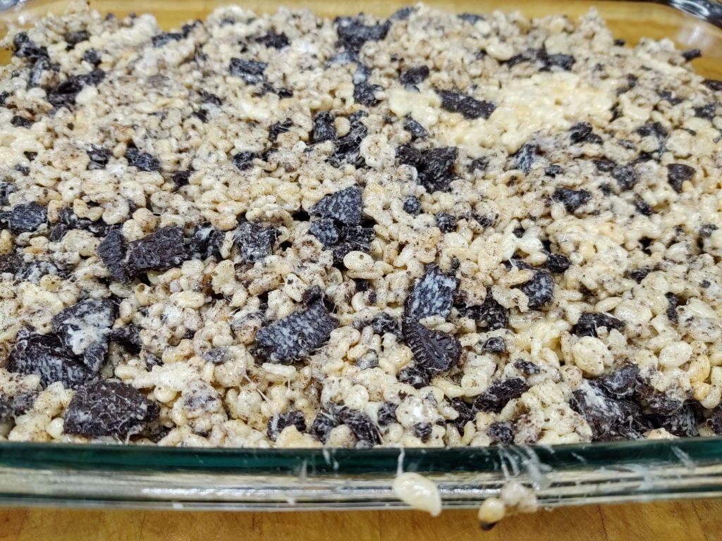closeup of oreo rice krispie treats