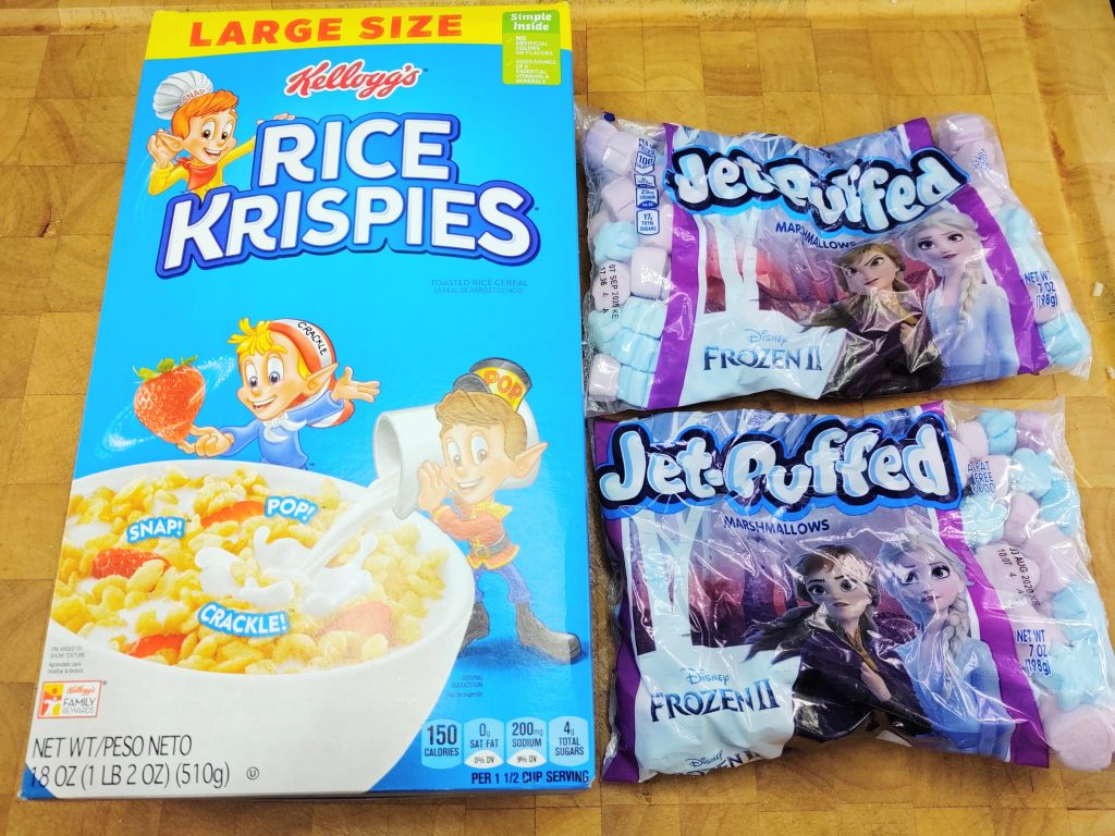 box of Rice Krispies next to 2 bags of Jet-Puffed Frozen 2 marshmallows