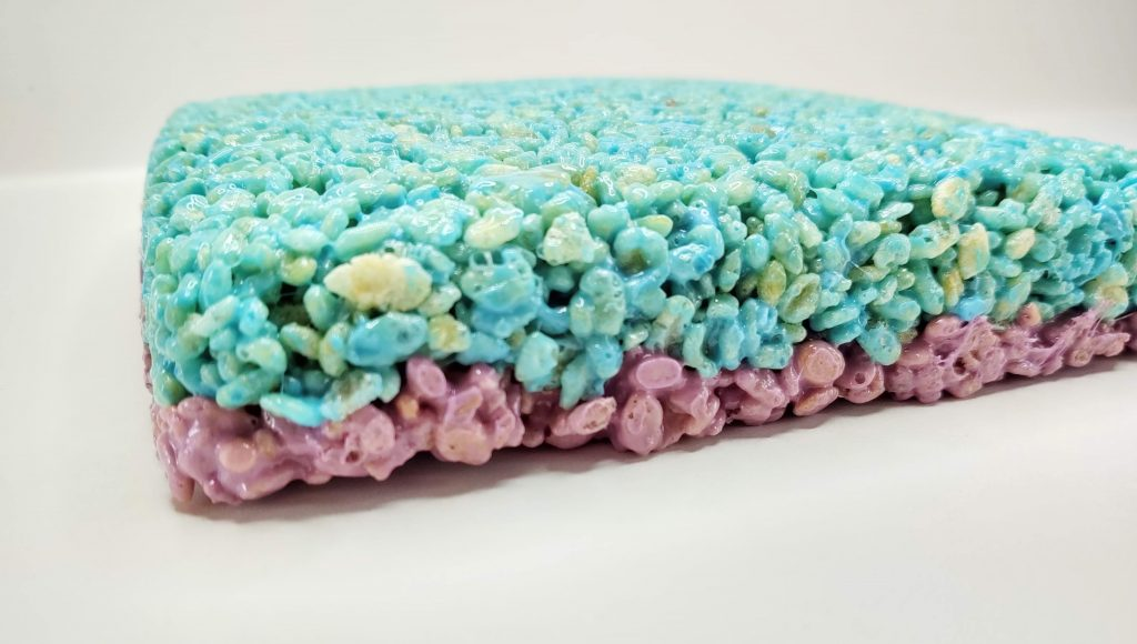 Frozen themed Rice Krispie Treats with blue and purple layers