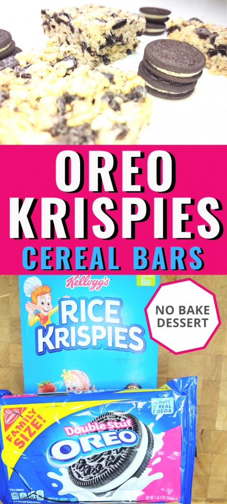 """pinterest post with 3 sections. top image contains 3 oreo rice krispie treat squares arranged with 3 stacks of double stuff'd oreos. middle section text says, """"Oreo Krispies Cereal Bars"""". Bottom image has a box of Rice Krispies and a package of double stuff'd oreos."""