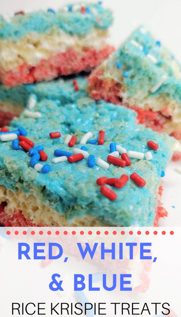 "Pinterest image featuring a closeup of several red, white, and blue Rice Krispie Treats with matching sprinkles. Text says, ""Red, White, & Blue RICE KRISPIE TREATS"""