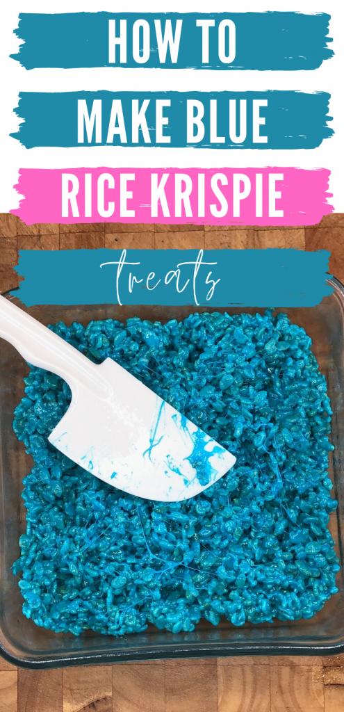 """pinterest image of pan of blue rice krispie treats. Text reads, """"how to make blue rice krispie treats"""""""