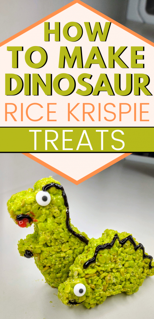 "pinterest image of 2 dinosaur rice krispie treats with text, ""how to make dinosaur rice krispie treats"""