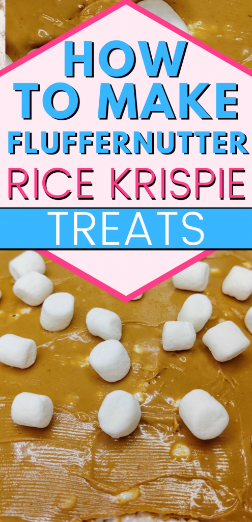 "pinterest image featuring close up of fluffernuter rice krispie treats with text reading, ""How to make fluffernutter rice krispie treats"""