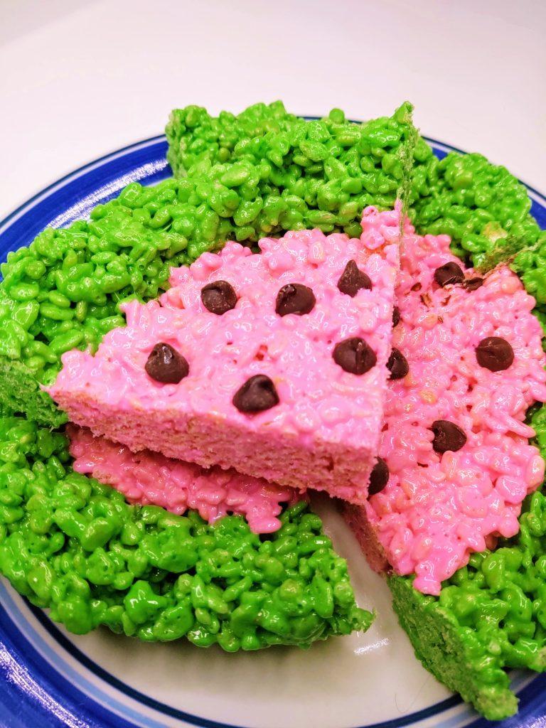 plate of watermelon rice krispie treats