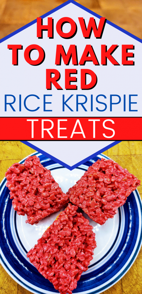"""Pinterest image with 3 red rice krispie treats. text reads, """"how to make red rice krispie treats"""""""