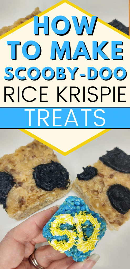 "pinterest image of 2 scooby-doo rice krispie treat. text reads, ""how to make scooby-doo rice krispie treat"""