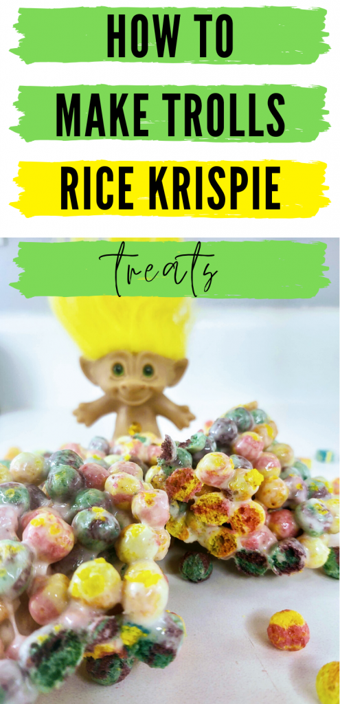 """pinterest image with Trolls rice krispie treats with troll doll in background. Text reads, """"How to make trolls rice krispie treats"""""""