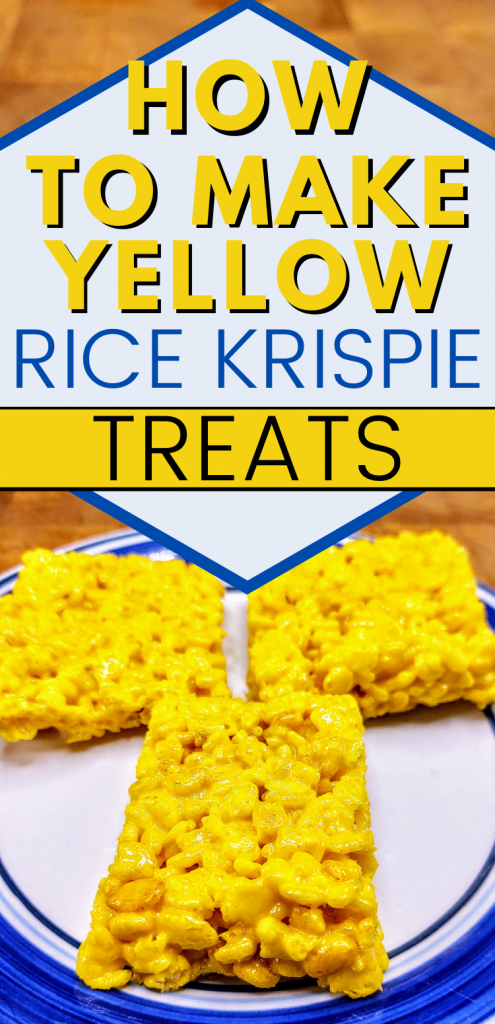 "pinterest image of 3 yellow rice krispie treats. text reads, ""how to make yellow rice krispie treats"""