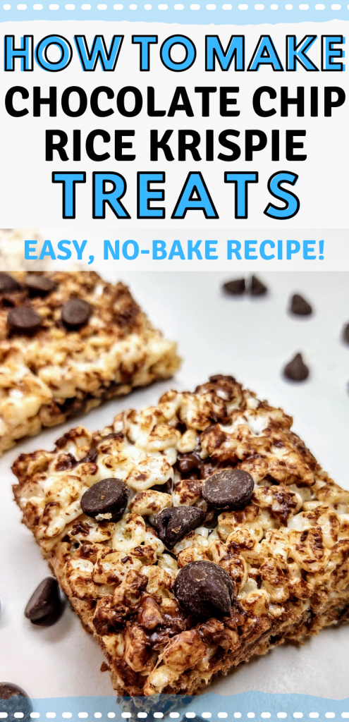 "pinterest image featuring closeup of chocolate chip rice krispie treat. Text reads, ""how to make chocolate rice krispie treats. easy, no-bake recipe!"""