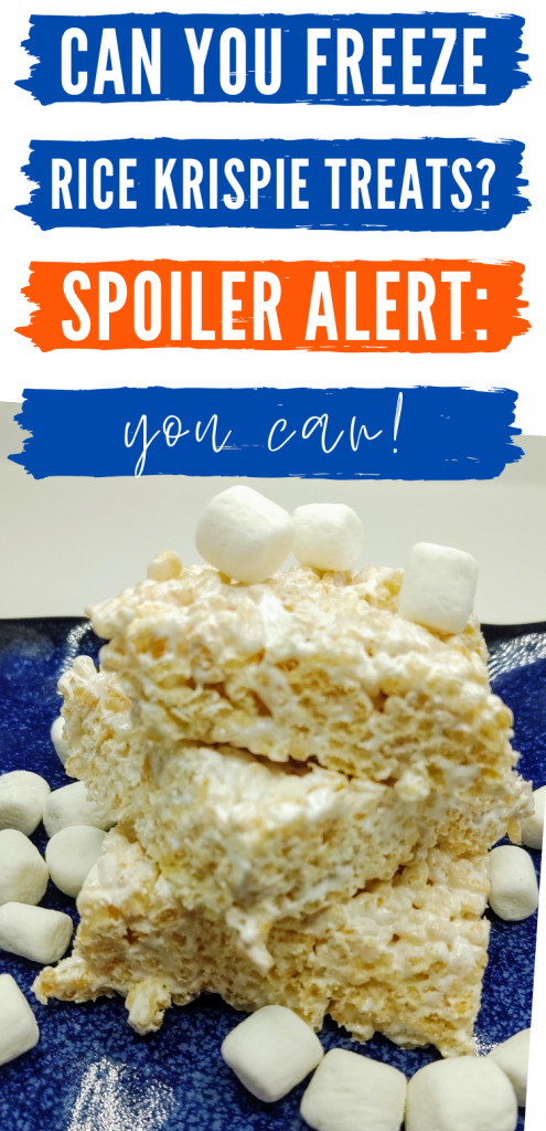 """pinterest image with close up of stacked frozen rice krispie treats. Text reads,"""" Can you freeze rice krispie treats? Spoiler alert: you can!"""""""