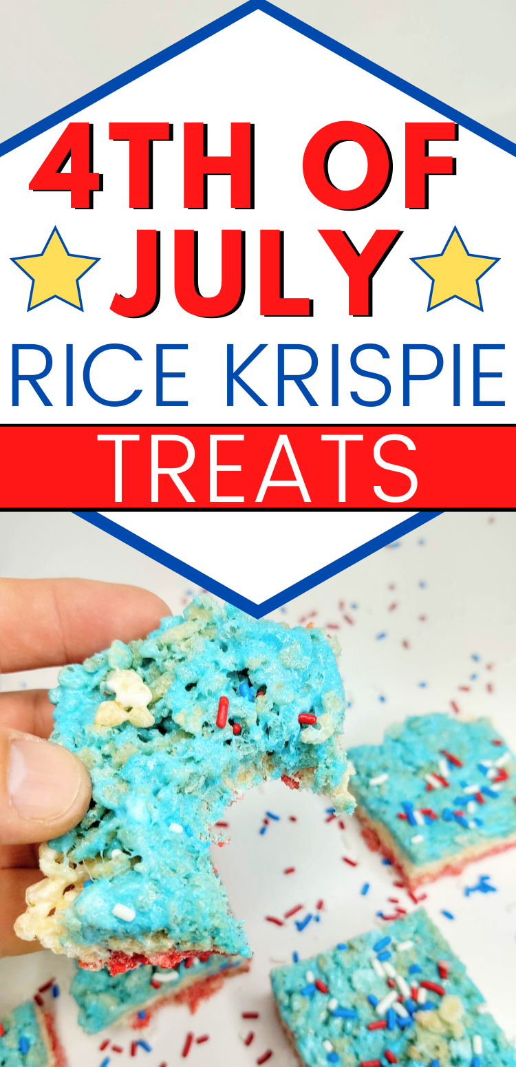 "pinterest image of red white and blue rice krispie treat with bite taken out. Text reads, ""4th of July rice krispie treats"""