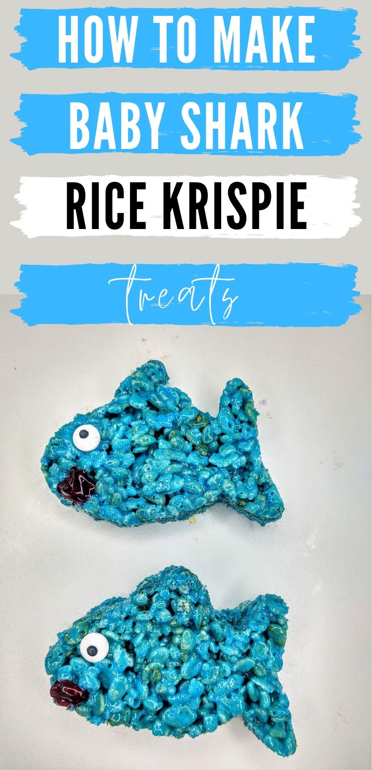 "pinterest image of baby shark rice krispie treats. text reads, ""how to make baby shark rice krispie treats"""