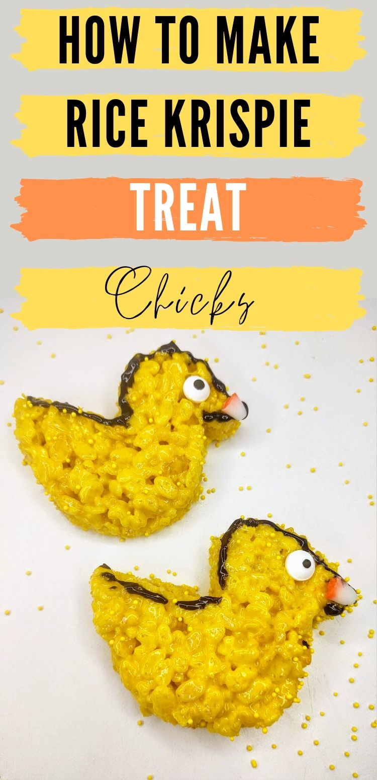 "pinterest image of 2 rice krispie treat chicks. text reads, ""how to make rice krispie treat chicks"""