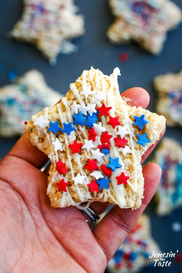 candy drizzled 4th of july rice krispie treats