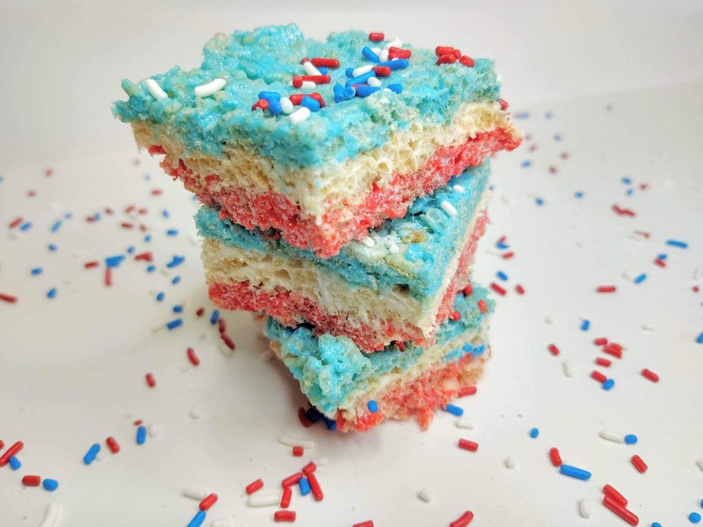 red white and blue layered rice krispie treats