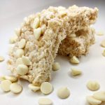 stack of white chocolate rice krispie treats
