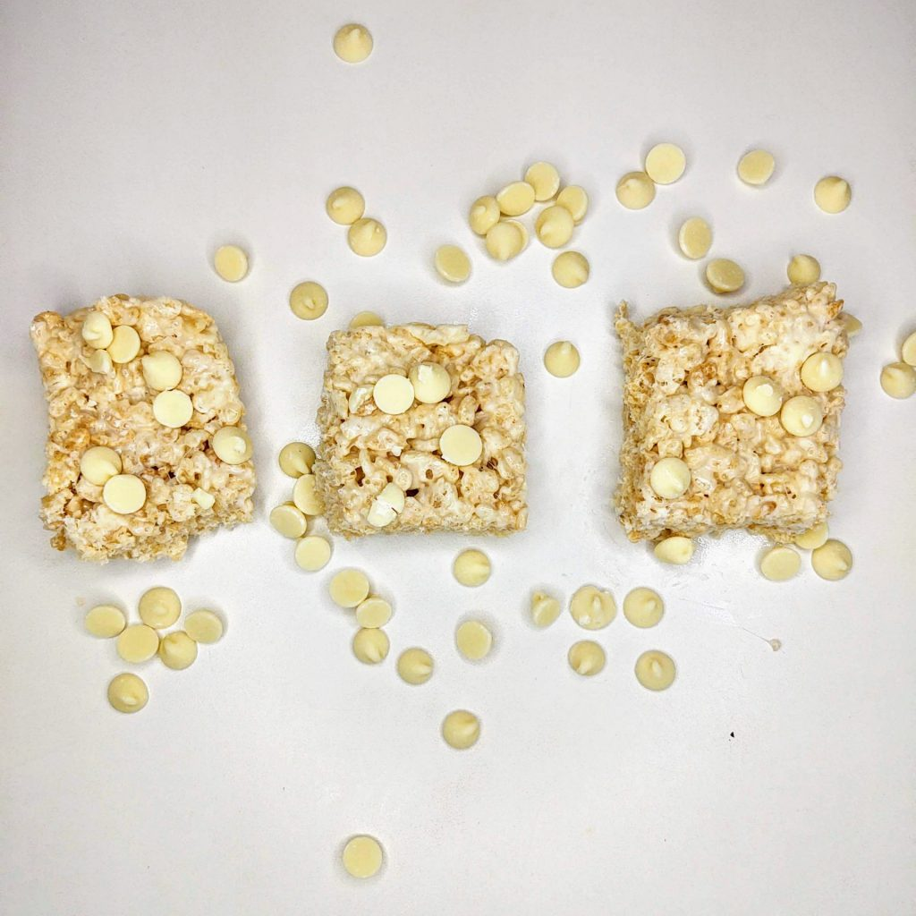 3 white chocolate rice krispie treats