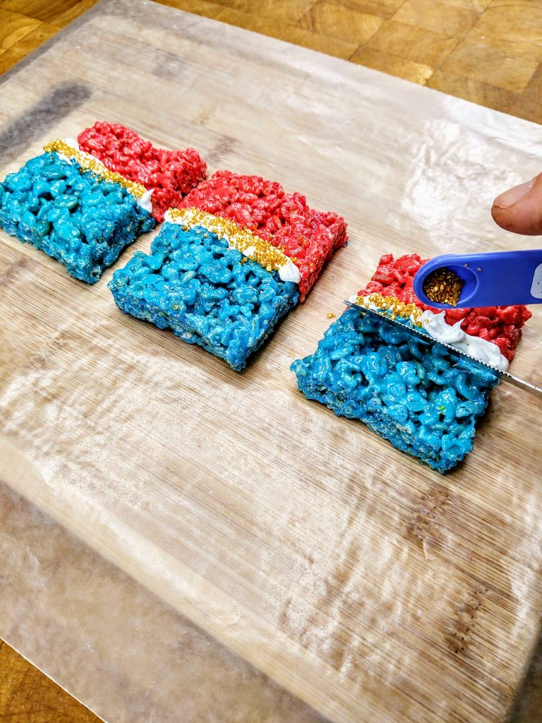 wonder woman Rice Krispie Treats mid process