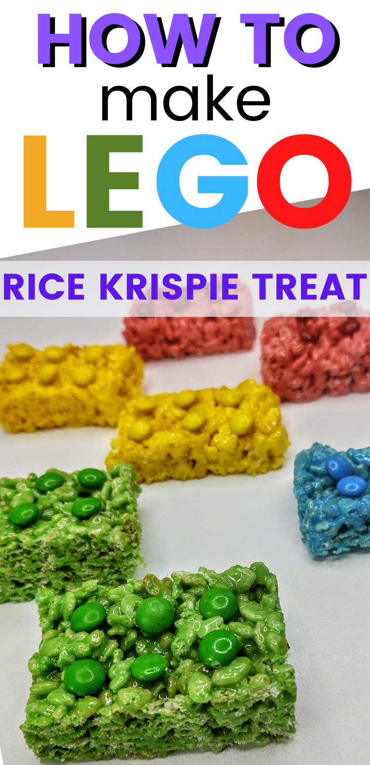 "pinterest image of lego rice krispie treats. text reads, ""how to make lego rice krispie treats"""
