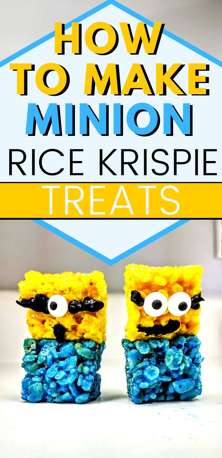 "pinterest image closeup of 2 minions. text reads, ""how to make minion rice krispie treats"""