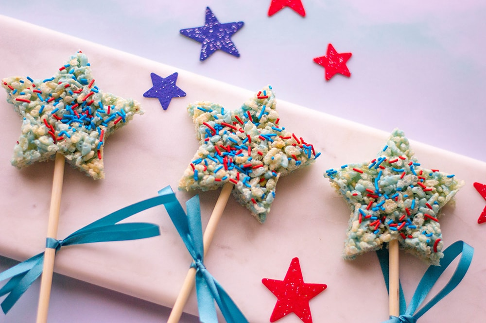 4th of july rice krispie treats star on pop sticks