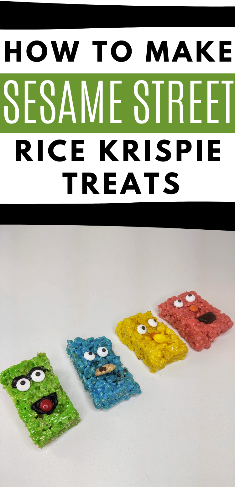 "pinterest image with 4 seseame street character rice krispie treats. Text reads, ""how to make sesame street rice krispie treats"""