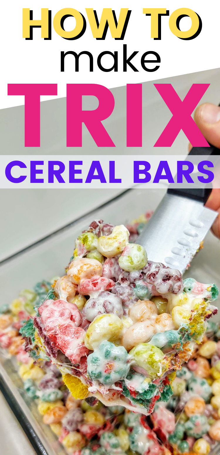 "trix cereal bar square. text reads, ""how to make trix cereal bars"""