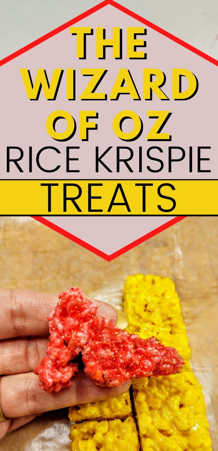 "pinterest image of red shoe on yellow brick road. text reads, ""the wizard of oz rice krispie treats"""
