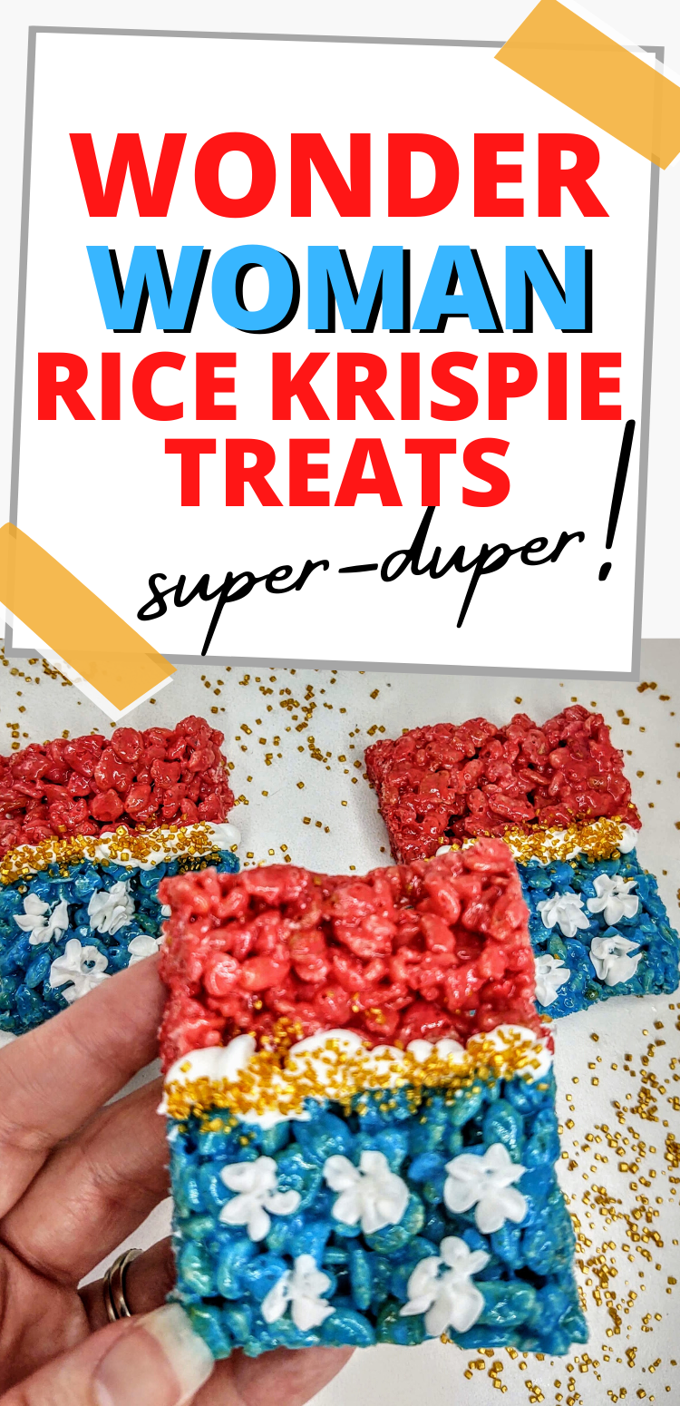 "pinterest image of wonder woman rice krispie treats. text reads, ""wonder woman rice krispie treats. super-duper!"""