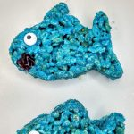 2 blue baby shark rice krispie treats
