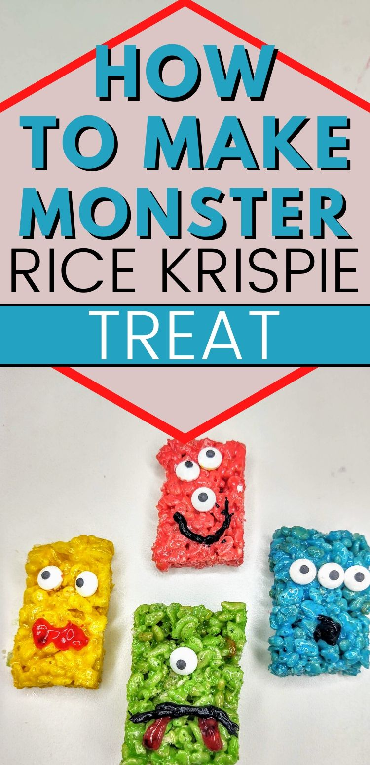 "pinterest image with 4 monster rice krispie treats. text reads, ""how to make monster rice krispie treats"""