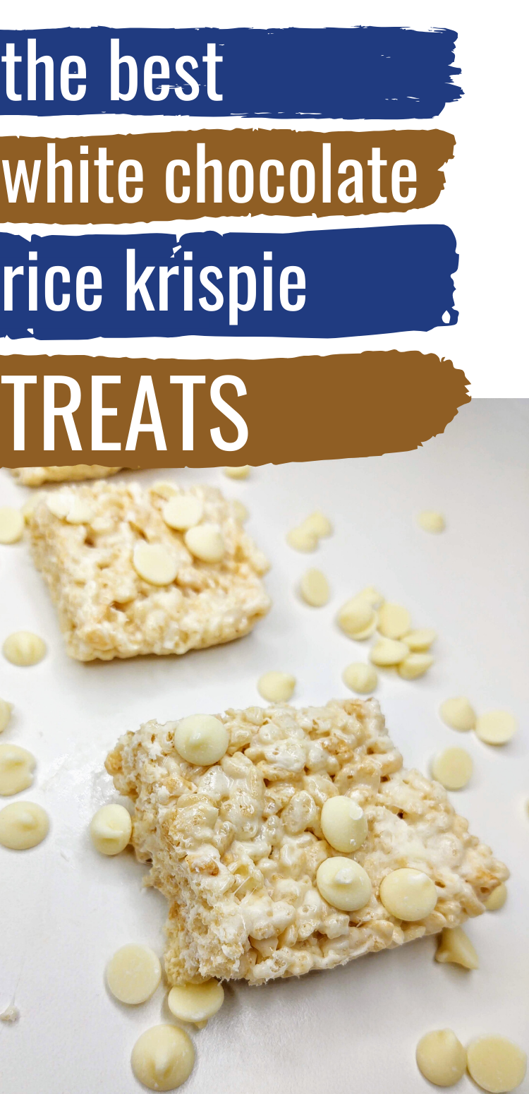 "pinterest image of white chocolate rice krispie treats. text reads, ""the best white chocolate rice krispie treats"""