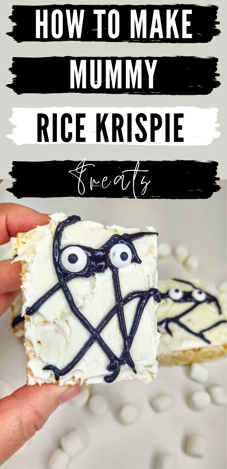 "pinterest image. text reads, ""how to make Mummy Rice Krispie Treats"""
