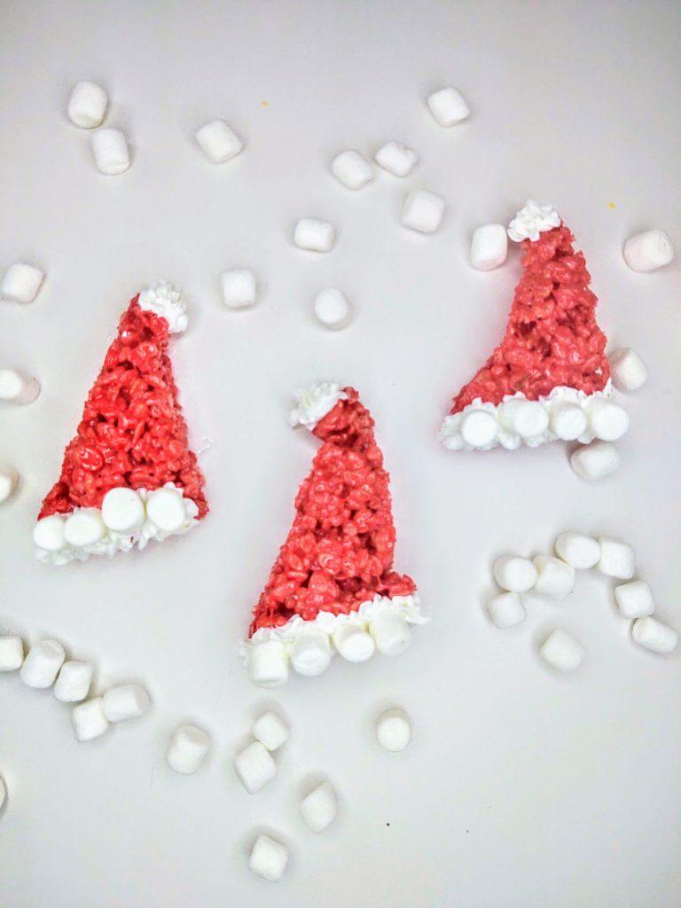 3 santa hat rice krispie treats