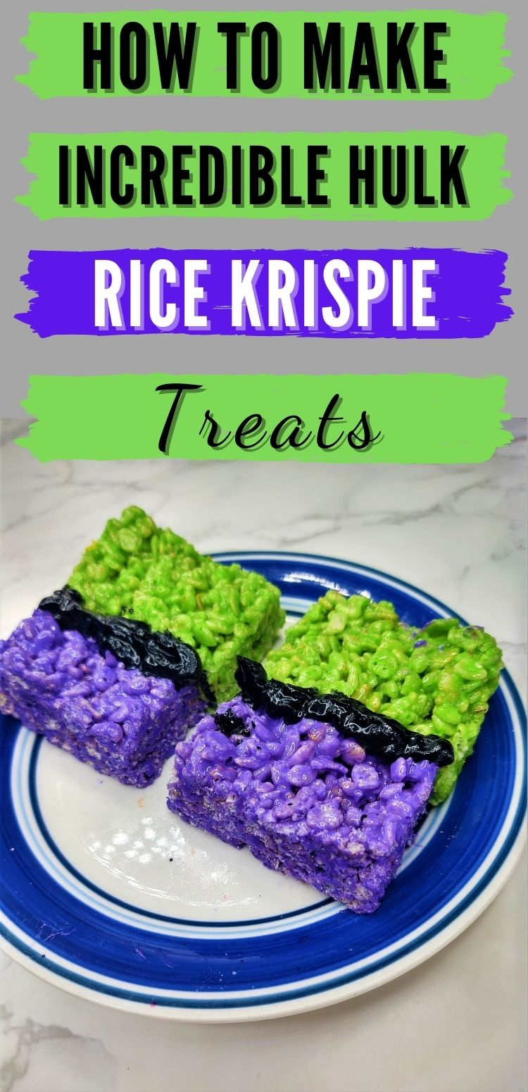 """pinterest image. text reads, """"how to make incredible hulk rice krispie treats"""""""