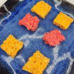 red and orange rice krispie treat bites
