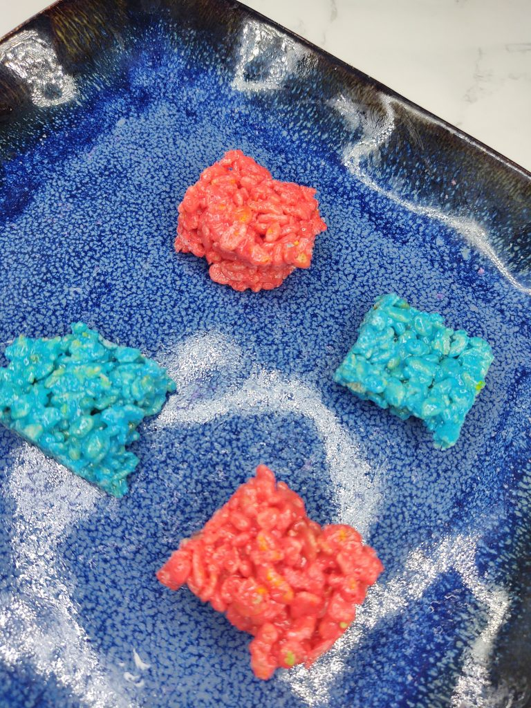 blue and red rice krispie bites