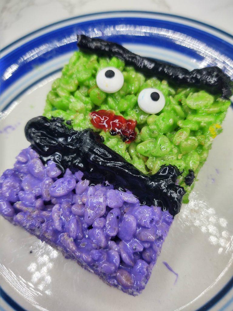 decorated incredible hulk rice krispie treats