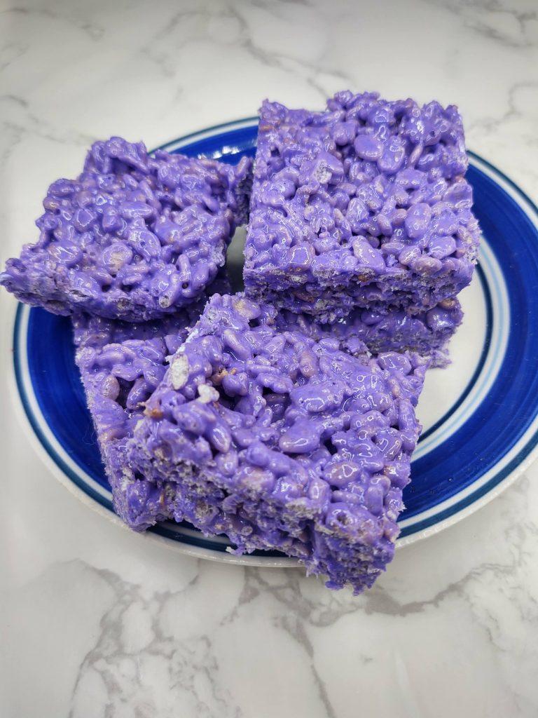 purple rice krispie treats