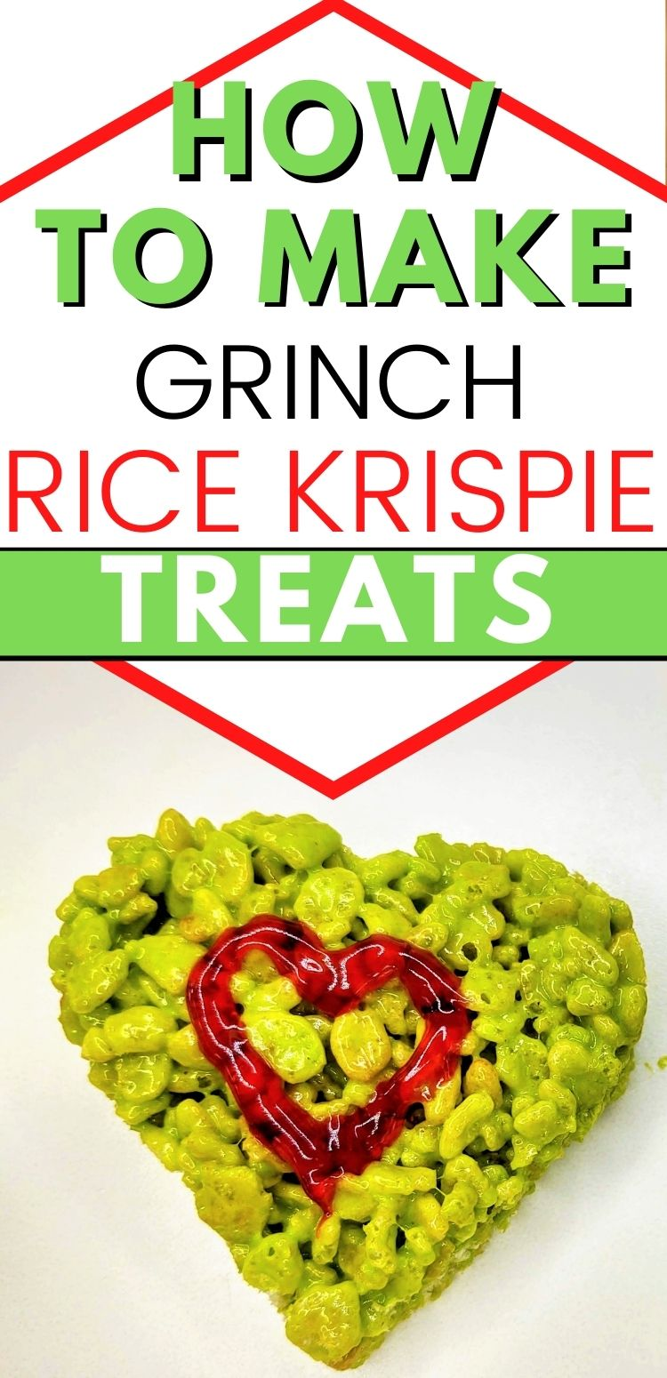 """pinterest image. text reads, """"how to make grinch rice krispie treats"""""""