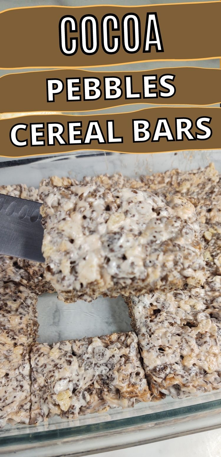 """pinterest image. text reads, """"cocoa pebbles cereal bars"""""""