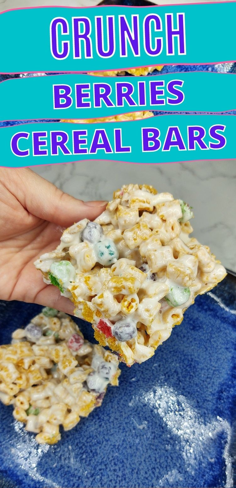"""pinterest image. text reads, """"crunch berries cereal bars"""""""